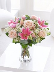 Pure Elegance Rose and Lily Hand-tied